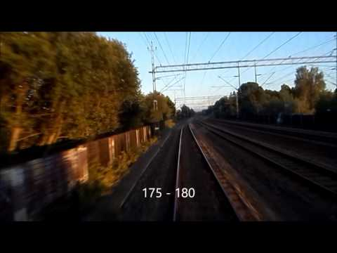 Tåg. Arlanda - Stockholm. Förarhyttsfilm