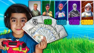 RANDOM FORTNITE SKIN *MONEY* CHALLENGE! | 6 YEAR OLD BROTHER WINS MONEY FOR EVERY KILL IN FORTNITE