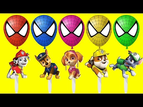 Thumbnail: Blasting Balloons Spiderman Paw Patrol Ice Cream Finger Family Colors Learn