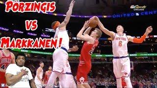 KRISTAPS PORZINGIS VS LAUR MARKKANEN !! BULLS WIN INTENSE GAME ! KNICKS VS BULLS HIGHLIGHTS !