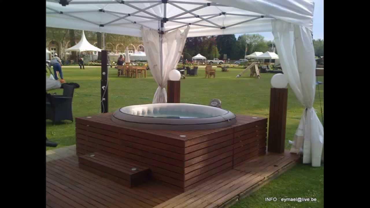 Habillage spa jacuzzy youtube for Habillage conduit cheminee exterieur