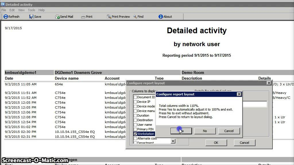 configuring Equitrac report layout