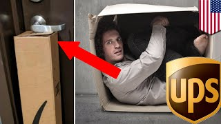 UPS package jams door handle and traps man inside his own apartment in UPS delivery fail - TomoNews