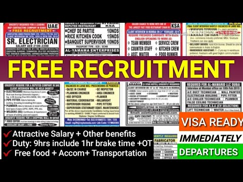 FREE GULF JOBS WALKIN INTERVIEWS IN INDIA FOR KUWAIT/QATAR/SAUDI SALARY GET UPTO 50000
