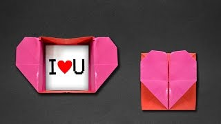 Origami: Heart Box & Envelope(Videos with instructions in English: https://www.youtube.com/playlist?list=PLBuR_wjBZR36lE_GetuO3bHRA5NMH7_wF. Heart envelope that opens like a box!, 2016-05-14T14:00:01.000Z)
