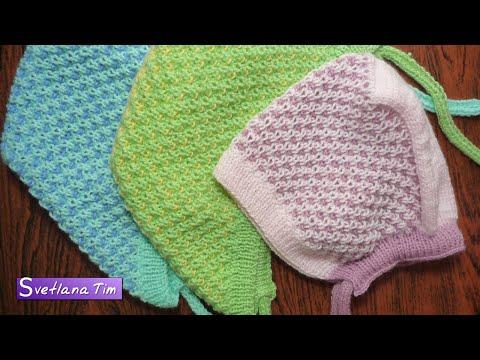 Шапочка - ЧЕПЧИК для ребенка. Детская шапочка. Вязание спицами # 308