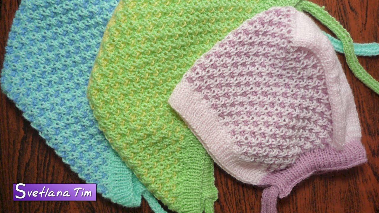 шапочка чепчик для ребенка детская шапочка вязание спицами 308