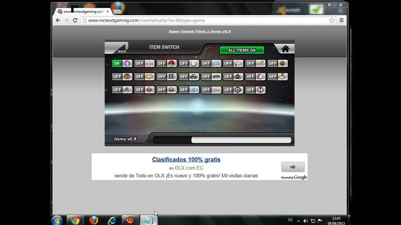 Como activar items en super smash flash 2 youtube