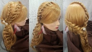 Прически вечерняя прическа на бок хвост и плетение косичек hairstyle быстрые красивые  в школу