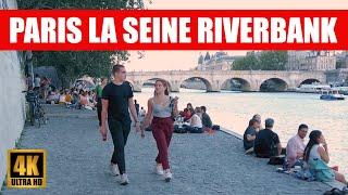 【4K】Paris Seine Riverbank Evening Walking Tour
