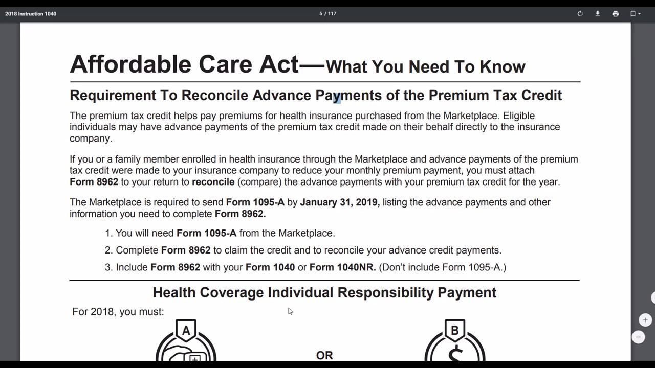 2 Minute Tax Topics - 2018 Form 1040 - Form 1095 - Healthcare