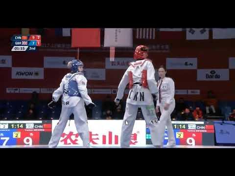 Wuxi 2018 World Taekwondo Grand Slam -49kg FEM Charlie MADDOCK(GBR) vs  Yuntao WENREN(CHN)