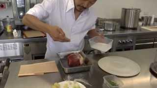 Sang-Hoon Degeimbre prepares an angus beef dish part 1