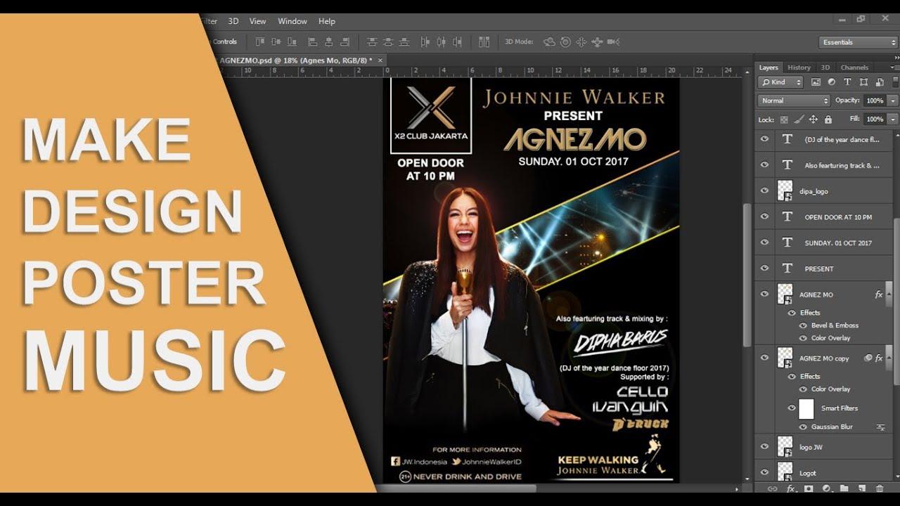 Cara membuat poster musik dengan photoshop - YouTube