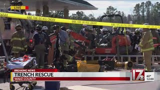 Rescue efforts underway after trench collapse leaves workers trapped in Wake County