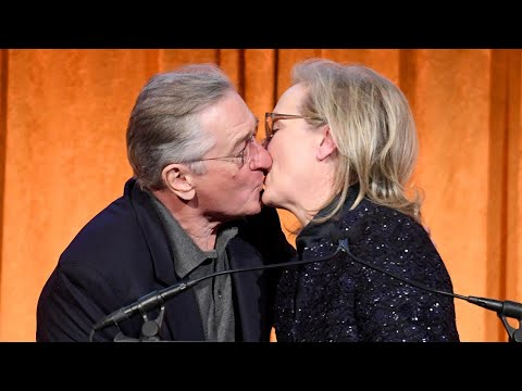 Meryl Streep Plants a Big Kiss on Robert De Niro at National Board of  Gala  Watch!