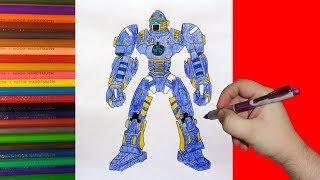 How to draw robot Tackle, Real Steel, Как нарисовать робота Такл, Живая Сталь