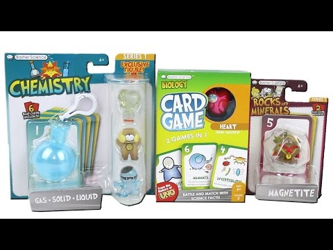Basher Science Series 1 Biology Card Game Chemistry Rocks and Minerals Figure Sets Unboxing Review