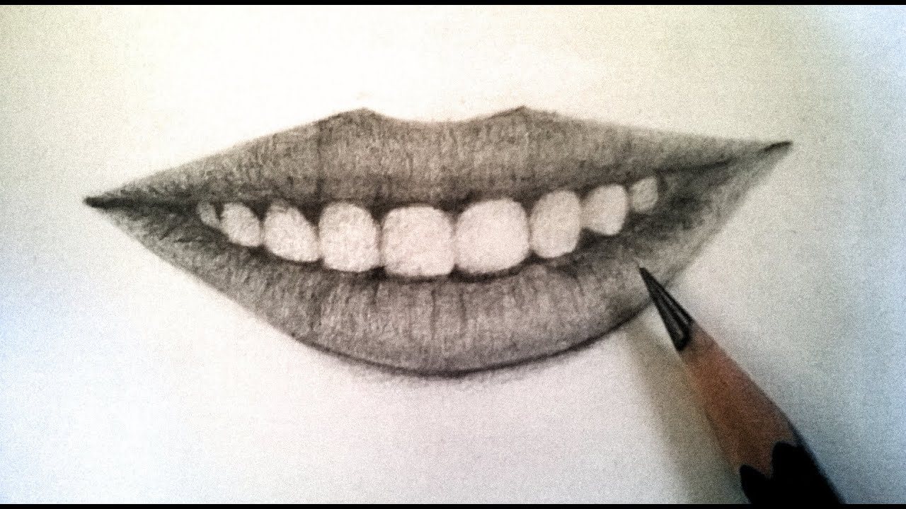 How To Draw Realistic Lips Using Pencil : Teeth And Lips With Pencil