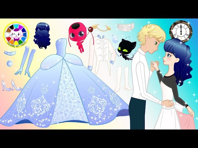 Paper Dolls MIRACULOUS Ladybug and Cat Noir pretend Play Costumes for Princess Cartoons & Crafts