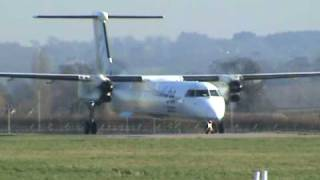 FlyBe Dash 8-Q402 Take Off From Exeter Airport (ATC Inc)