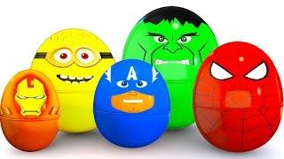 SURPRISE EGGS Colors for Babies - McQueen Cars Educational Video - Bus Superheroes for Kids thumbnail