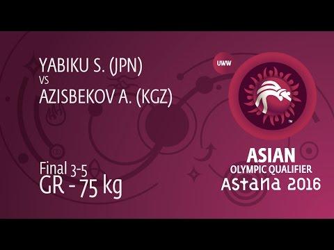 BRONZE GR - 75 kg: A. AZISBEKOV (KGZ) df. S. YABIKU (JPN), 3-0