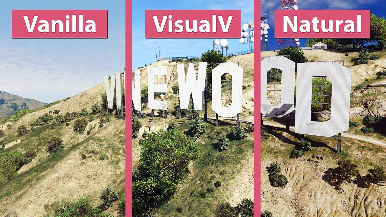 GTA 5 – Vanilla vs  VisualV vs  NaturalVision Photorealistic Graphics Mod  Comparison