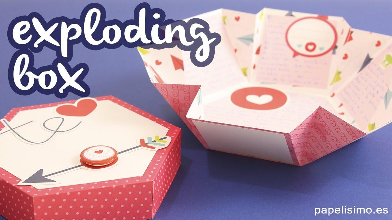 Carta de amor explosiva - EXPLODING BOX - Caja hexagonal Scrapbook ...