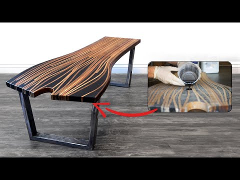 Epoxy Steam Bent Coffee Table | 47 | #RocklerBentWoodChallenge