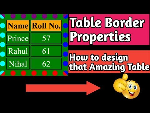 How To Change,Set Table Border Style,Color, In HTML || HTML Border Properties