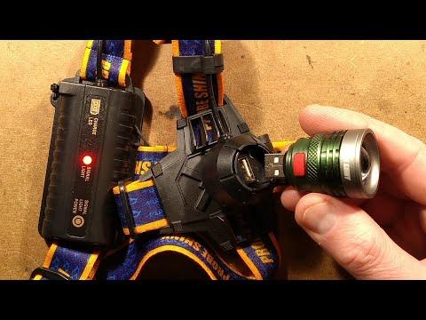 Inside a Shiny Probe head torch with detachable USB light.