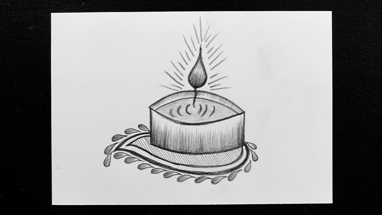 How to draw diya for diwali diwali drawing diya drawing pencil sketching