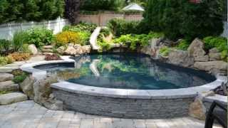 Project Showcase by Deck and Patio Company Huntington New York Natural Pool and Bullfrog Spa