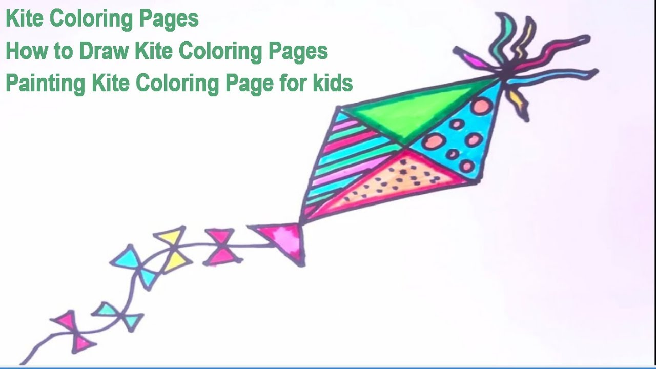 Kite Coloring Pages How To Draw Kite Coloring Pages Painting Kite Coloring Page For Kids