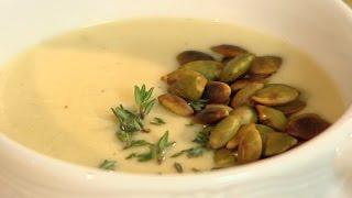 Rączka gotuje - zupa-krem z selera i schab z grzybami na zapiekance ziemniaczanej