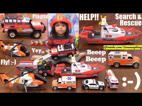 Fire Truck Toys that Shoot Water! Search and Rescue Vehicle Toys. Police Car, Ambulance, etc...