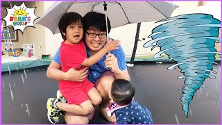 Ryan pretend play Weather with Family!!!