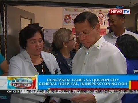 BP: Dengvaxia lanes sa Quezon City General Hospital, ininspeksyon ng DOH