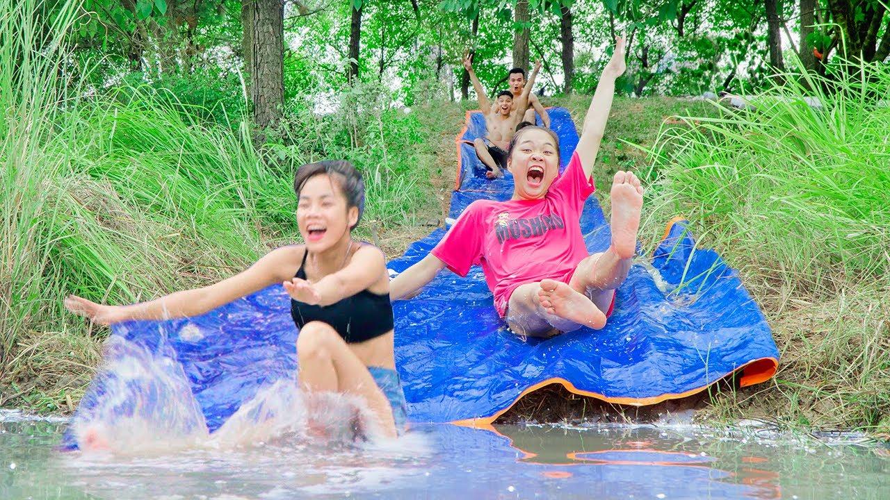Làm Cầu Trượt Bể Bơi Khổng Lồ ❤ Làm Bể Bơi Ngoài Trời - Trang Vlog