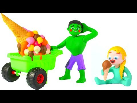 HULK GIANT ICE CREAM ❤ Spiderman, Hulk & Frozen Elsa Play Doh Cartoons For Kids