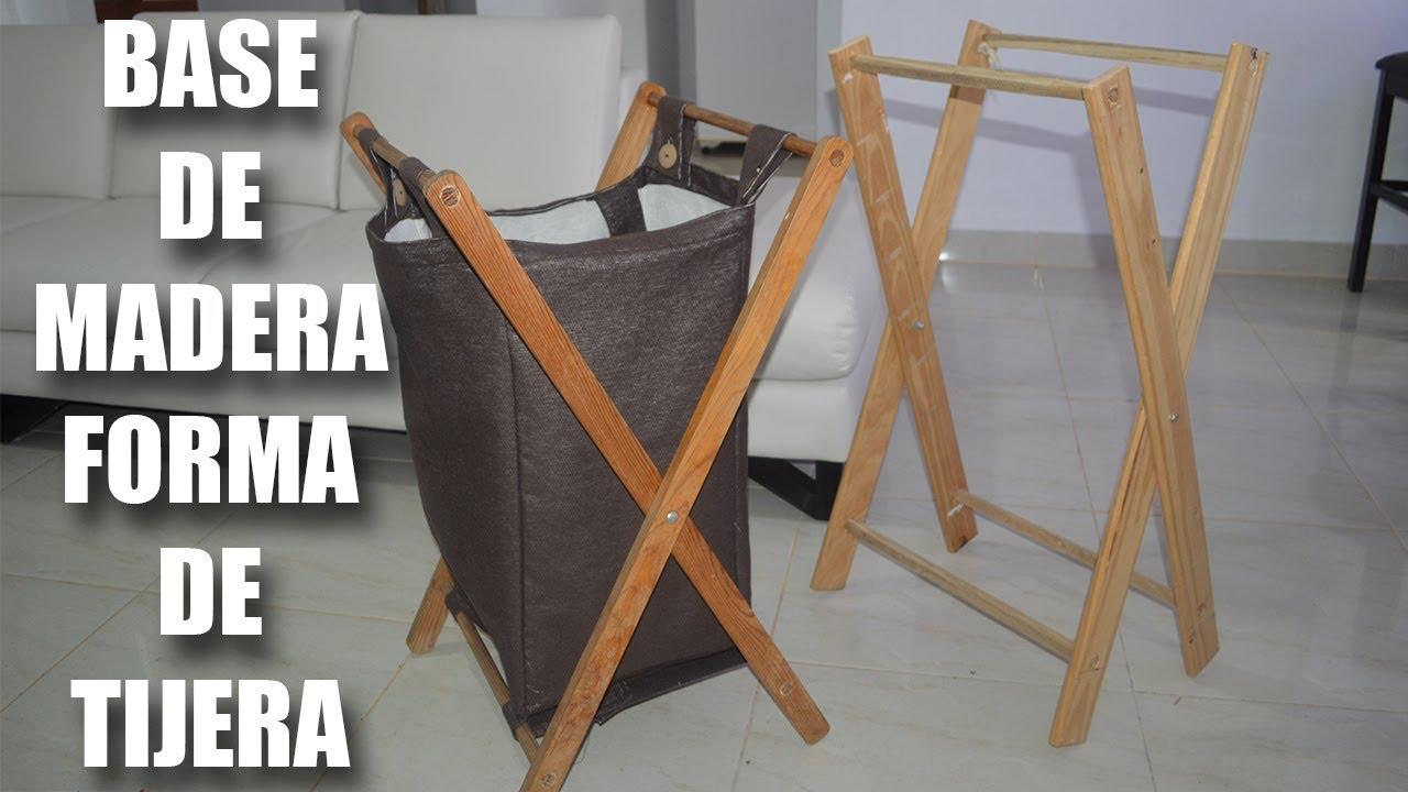 Como hacer una tijera de madera como base para cesto de - Cestos para ropa sucia ...
