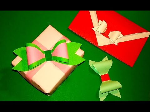 Easy paper bow. WITHOUT ribbon or wrapping paper! Valentine Gift box and greeting card decoration