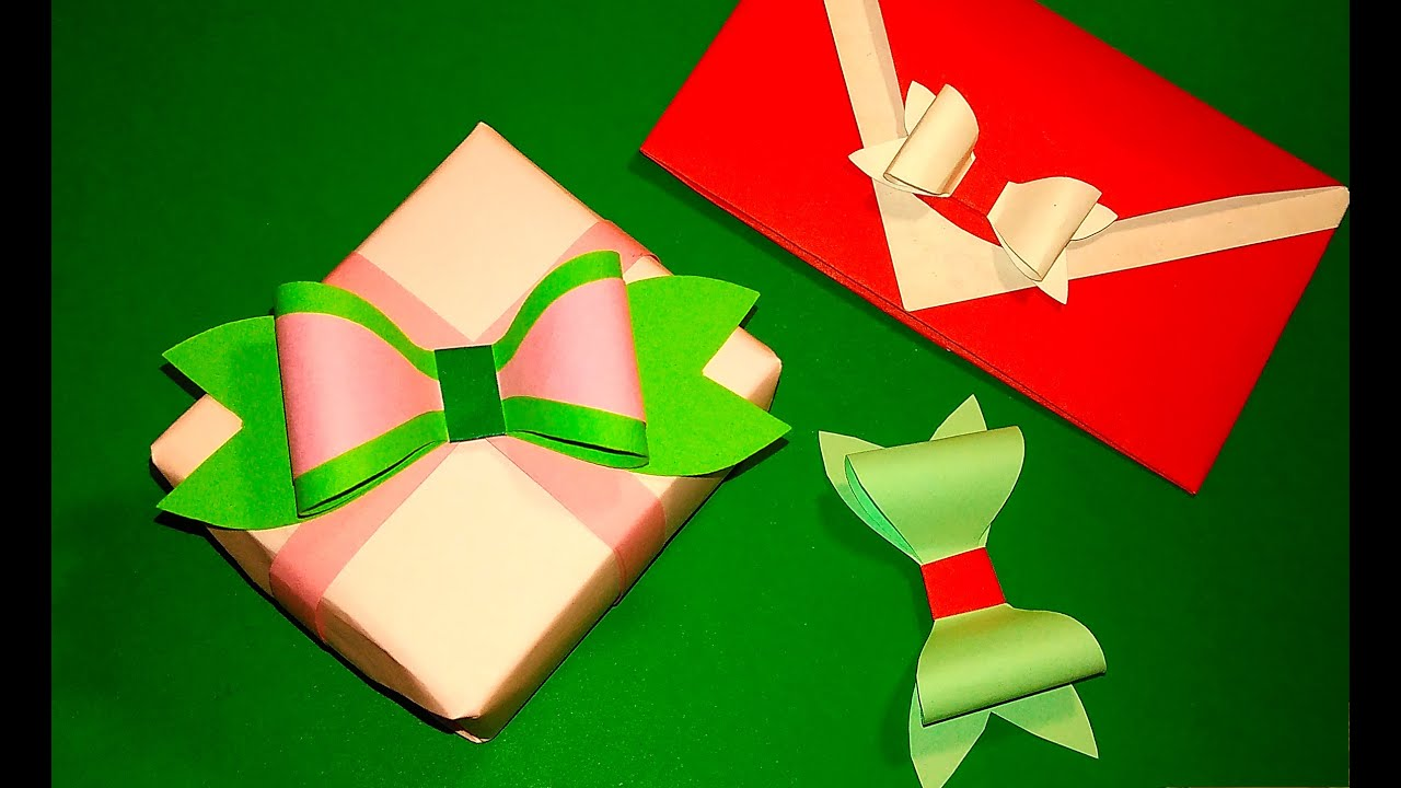 Easy paper bow. WITHOUT ribbon or wrapping paper! Gift box and ...