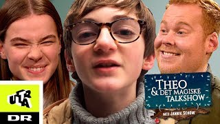 Theo styrter i sneen og Simone glemmer sine replikker | Theo & det magiske Talkshow | Ultra