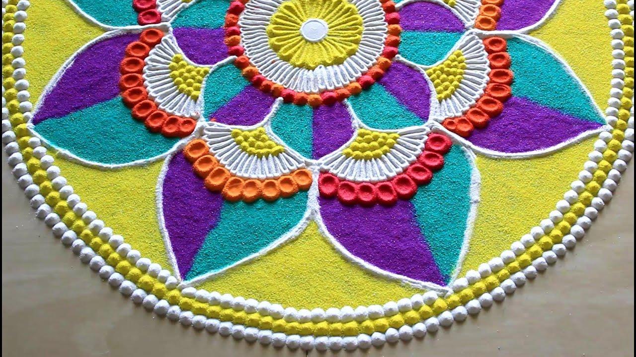 Navratri Diwali Special Rangoli Designs 2019 L Rangoli Designs With Colours L Dussehra Rangoli