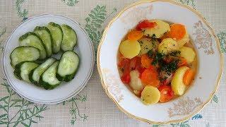 Летний картофельный соус с овощами без мяса за 15 минут. Рецепт быстрого блюда из овощей.