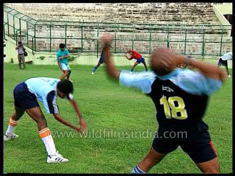 Dhanraj Pillay and other players practice Hockey in Delhi