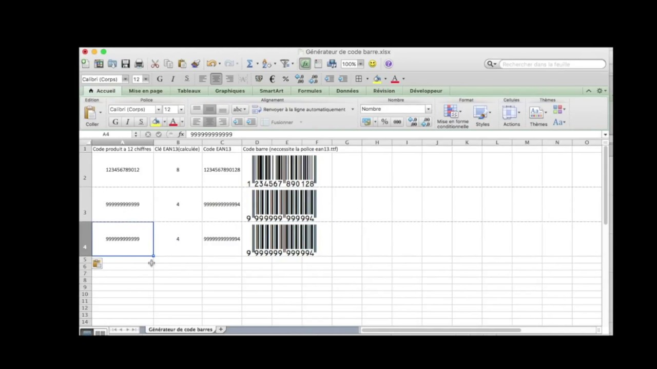How to make EAN13 Barcode in Excel - ONLY FORMULA - NO MACRO - NO VBA