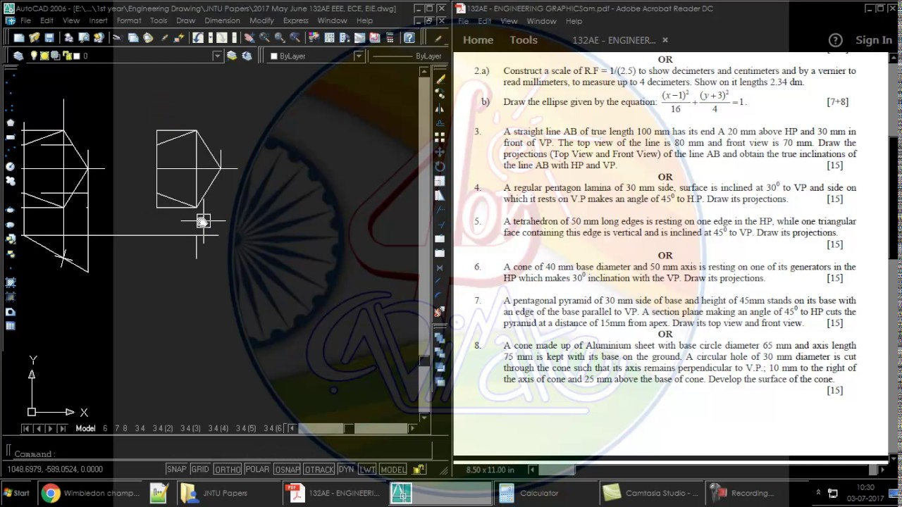 AutoCAD tutorial for Engineering Drawing - JNTU paper with - May ...